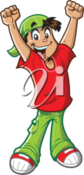 Royalty Free Clipart Image of a Cheering Boy in a Ball Cap