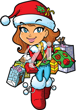 Royalty Free Clipart Image of a Girl in a Santa Hat With Shopping Bags