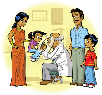 Royalty Free Clipart Image of a Family at the Doctor