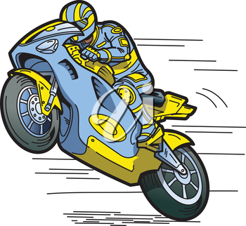 Royalty Free Clipart Image of a Motorcycle Racer