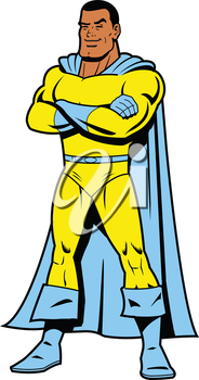 Royalty Free Clipart Image of a Smiling Superhero