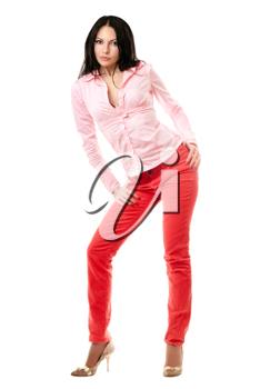 Royalty Free Photo of a Woman in Red Jeans