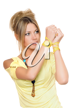 Royalty Free Photo of a Woman With Tied Wrists