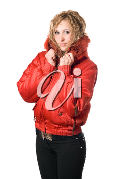 Royalty Free Photo of a Girl in a Hooded Jacket