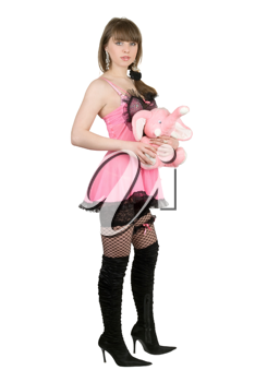 Royalty Free Photo of a Woman in Pink Holding a Pink Elephant