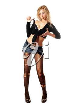 Royalty Free Photo of a Girl in Torn Stockings