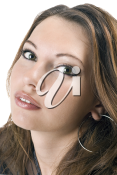 Royalty Free Photo of a Woman With Hoop Earrings