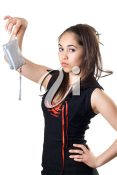 Royalty Free Photo of a Girl Holding a Silver Bag