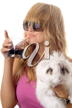 Royalty Free Photo of a Girl With a Rabbit and Drink