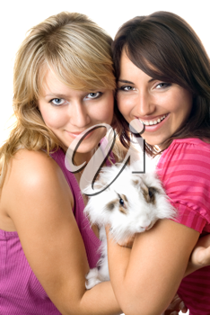 Royalty Free Photo of Two Women With a Rabbit