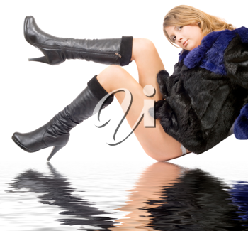 Royalty Free Photo of a Woman in a Fur Coat and Boots Reflected on Water