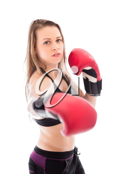 Portrait of young blond woman in red boxing gloves. Isolated on white