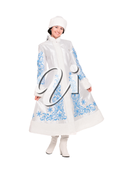 Young brunette posing in an winter costume. Isolated on white