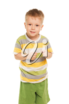 Funny little boy in striped t-shirt and green shorts. Isolated on white