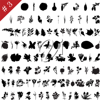 Royalty Free Clipart Image of Plant Silhouettes