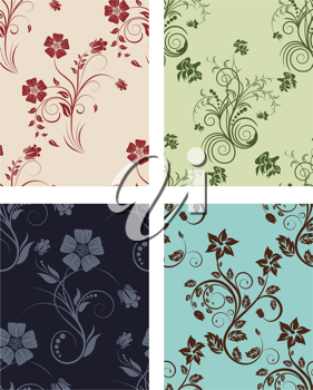 Floral seamless vector color backgrounds set.  For easy making seamless pattern just drag all group into swatches bar, and use it for filling any contours.