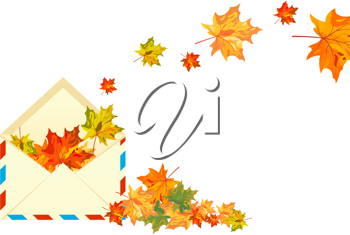Autumn maple tree leaves with envelope. Vector illustration.