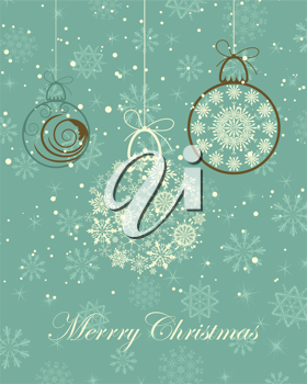 Beautiful vintage retro vector Christmas (New Year) card for design use