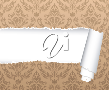Damask seamless vector pattern with ripped copy-space for your text.  For easy making seamless pattern just drag ornate group into swatches bar, and use it for filling any contours.