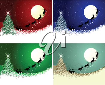 Set of Christmas card in different color. Fully editable EPS 8 vector illustration.