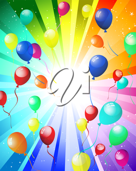 Color balloons in the air. EPS 10 vector illustration with transparency.