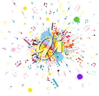 Royalty Free Clipart Image of Music Notes Flying From a Grunge Blob