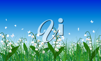 Meadow color background with butterflies. All objects are separated. Vector illustration. Eps 10 without transparency.