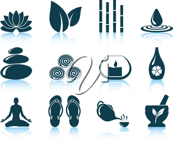 Set of spa icons. EPS 10 vector illustration without transparency.
