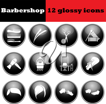 Set of barbershop glossy icons. EPS 10 vector illustration.