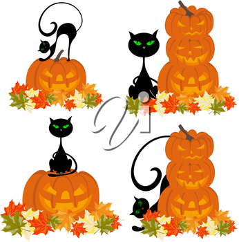 Set of Halloween Greeting Cards. Elegant Design With Black Cats, Pumpkin and Maple Leaves Over White  Background. Vector illustration.