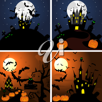 Set of Halloween Greeting Cards. Elegant Design With Pumpkin, Moon, Tree, Grave, Castle, and Cats Over Grunge Dark Sky Background. Vector illustration.