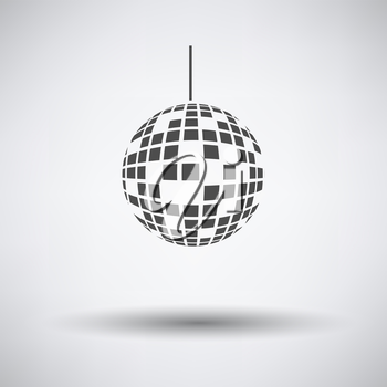 Party disco sphere icon on gray background with round shadow. Vector illustration.