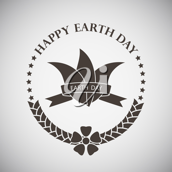 Earth day emblem with leaves tied by ribbon. Vector illustration.
