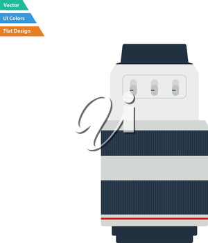 Flat design icon of photo camera zoom lens in ui colors. Vector illustration.
