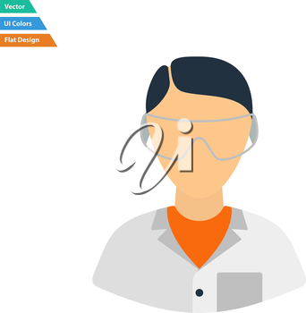 Flat design icon of chemist in eyewear  in ui colors. Vector illustration.