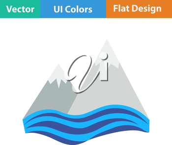 Flat design icon of snow peaks cliff on sea in ui colors. Vector illustration.