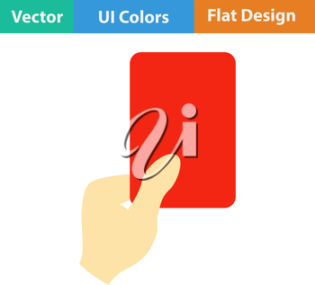 Flat design icon of football referee hand with red card in ui colors. Vector illustration.
