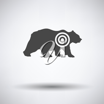 Bear silhouette with target  icon on gray background with round shadow. Vector illustration.