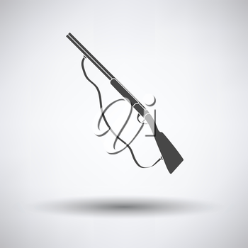 Hunting gun icon on gray background with round shadow. Vector illustration.