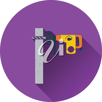 Icon of perforator drilling wall. Flat design. Vector illustration.