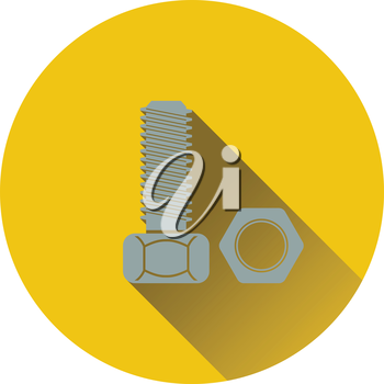 Icon of bolt and nut. Flat design. Vector illustration.