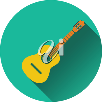 Icon of acoustic guitar. Flat design. Vector illustration.