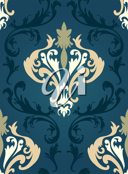 Damask seamless pattern from floral and swirl elements. Vector illustration.