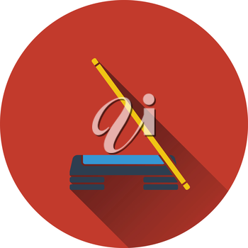 Icon of Step board and stick . Flat design. Vector illustration.