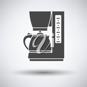 Kitchen coffee machine icon on gray background with round shadow. Vector illustration.