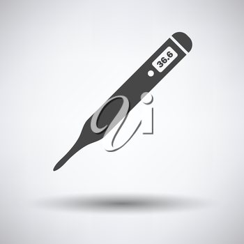 Medical thermometer icon on gray background, round shadow. Vector illustration.
