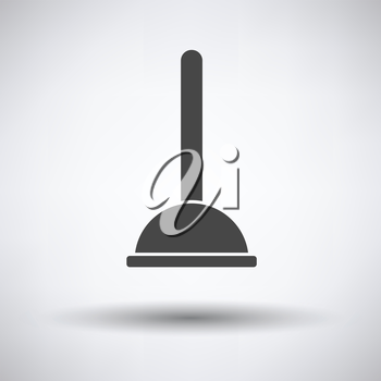 Plunger icon on gray background, round shadow. Vector illustration.
