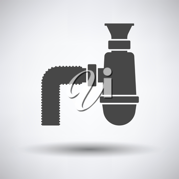 Bathroom siphon icon on gray background, round shadow. Vector illustration.