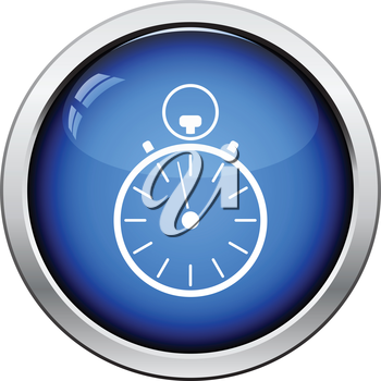 Stopwatch icon. Glossy button design. Vector illustration.