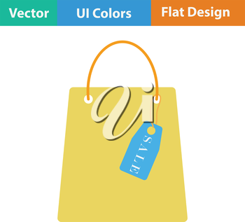 Shopping bag with sale tag icon. Flat design. Vector illustration.